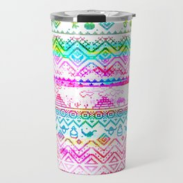 bohemian pattern in pink and turqupise soft colors Travel Mug