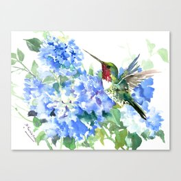 Hydrangeas and Ruby Throated Hummingbird Canvas Print