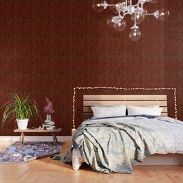 Golden Egyptian  hieroglyphics on red leather Wallpaper