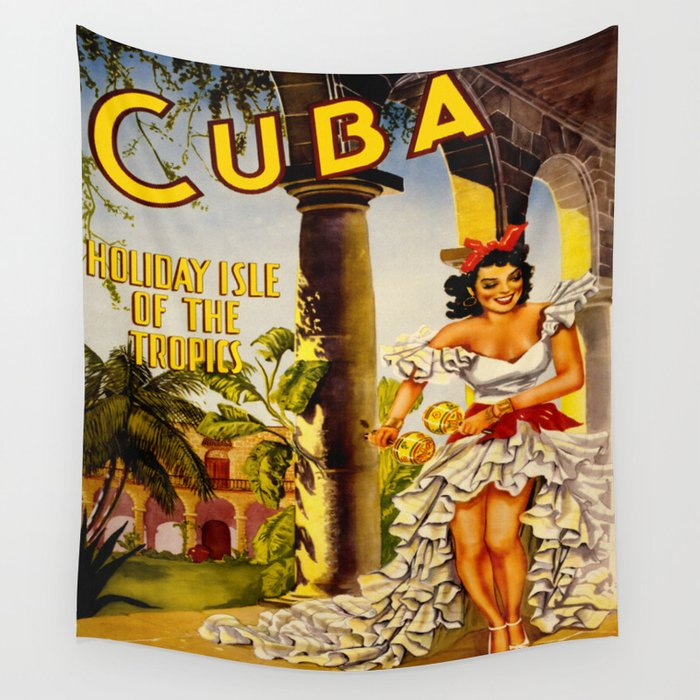 Cuba Holiday Isle of the Tropics Wall Tapestry by yesteryears | Society6