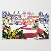 cycling Area & Throw Rugs featuring Summer Cycling by Natsuki Otani