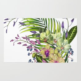 Bouquet, Orchid, Bud, Leaf Clipart, watercolor, handpainted, floral, flower, design, style, troical Rug