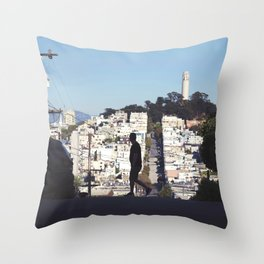Silhouette from Near Lombard Looking Toward Coit Tower, San Francisco Throw Pillow