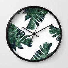 Banana Leaf Watercolor #society6 #buy #decor Wall Clock