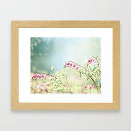 Bleeding Heart Flower Photography, Pink Blue Green Aqua Pastel, Floral Nursery Nature Spring Framed Art Print