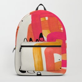 Mid Century Modern Abstract Colorful Art Ombre Magenta Yellow Circles Raindrops Geometric Pattern Backpack