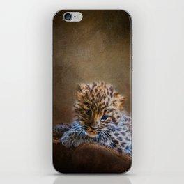 Cute painting amur leopard cub iPhone Skin