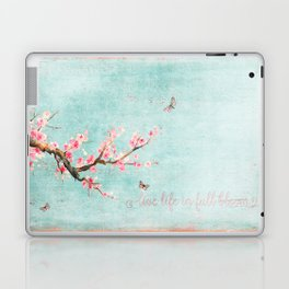 Live life in full bloom - Romantic Spring Cherry Blossom butterfly Watercolor illustration on aqua Laptop & iPad Skin