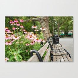 City Bench Flowers Canvas Print