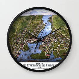 MYSTIC RIVER CONNECTICUT city old map Father Day art print Wall Clock