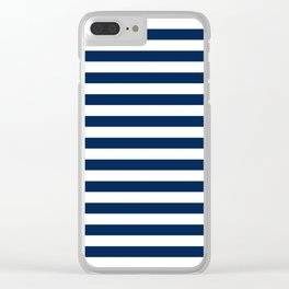 Slate blue and White Thin Stripes - Navy Nautical Pattern Clear iPhone Case