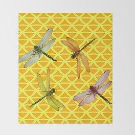 DRAGONFLIES PATTERNED YELLOW-BROWN ORIENTAL SCREEN Throw Blanket