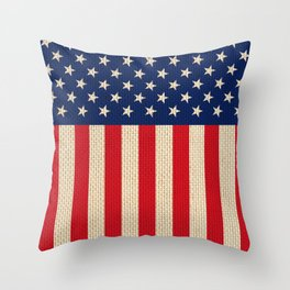 USA faux burlap flag Throw Pillow