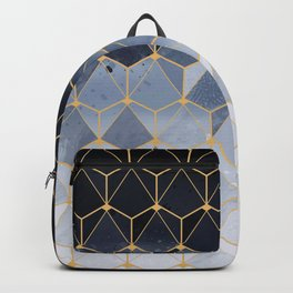 Blue gold hexagonal pattern Backpack