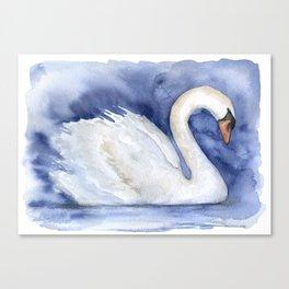 Swan Watercolor Painting Canvas Print