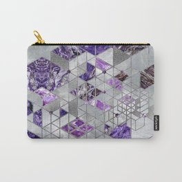 Abstract Geometric Amethyst and Mother of pearl Carry-All Pouch