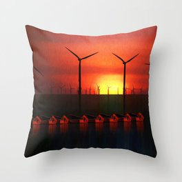 Boats at Sunset (Digital Art) Throw Pillow