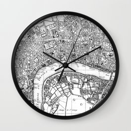 Vintage Map of London England (1727) BW Wall Clock