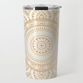 Gold Mandala Pattern Illustration With White Shimmer Travel Mug