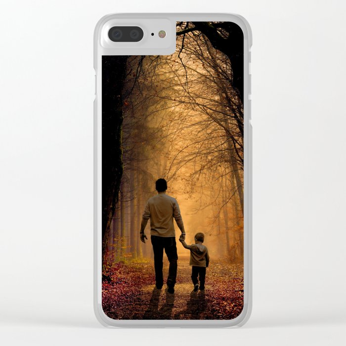 Father and Son in the Woods Clear iPhone Case