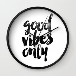 Good Vibes Only black and white typography poster black-white design home decor bedroom wall art Wall Clock