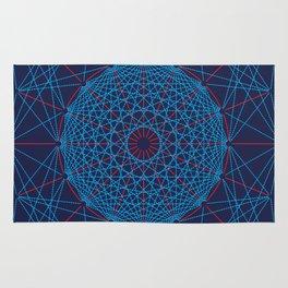 Geometric Circle Blue/Red Rug