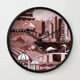 Melbourne Travel Poster Illustration Wall Clock