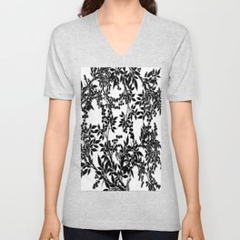 Toile Black and White Tangled Branches and Leaves Unisex V-Neck