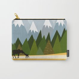 Woodland snowy mountain tops trees and mother moose and baby Carry-All Pouch