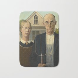 American Gothic Oil Painting by Grant Wood Bath Mat