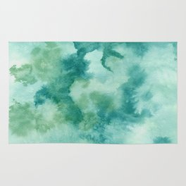Dusty Green Watercolor Abstract Rug