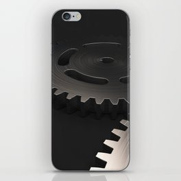 Set of metal gears and cogs on black iPhone Skin