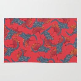 Ginkgo & Skulls (bright orange version) Rug
