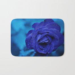 Blue Rose With Rain Drops Bath Mat