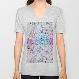 Multicolor Watercolor Hydrangea dream pattern Unisex V-Neck