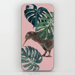 Kiwi Bird with Monstera in Pink iPhone Skin