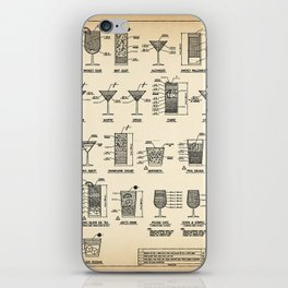 COCKTAIL poster, cocktail chart print iPhone Skin