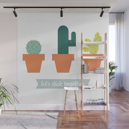 Let's Stick Together - Cactus Party Wall Mural