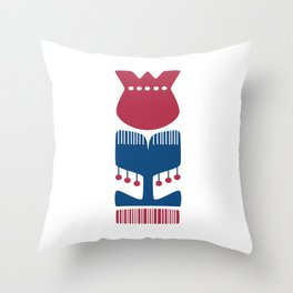 Nordic Red Flower Throw Pillow