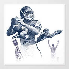 Quarterback throwing a touchdown pass. Canvas Print