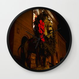 Chicago's Lions in Winter #3 (Chicago Christmas/Holiday Collection) Wall Clock
