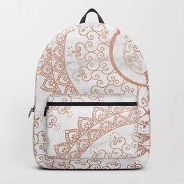 Mandala - rose gold and white marble Backpack