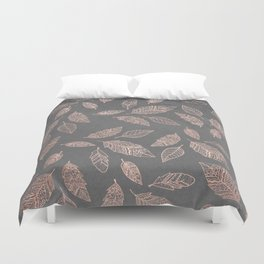 Rose gold hand drawn boho feathers hand drawn grey industrial concrete cement Duvet Cover
