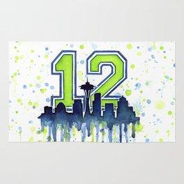 Seattle 12th Man Art Skyline Watercolor Rug