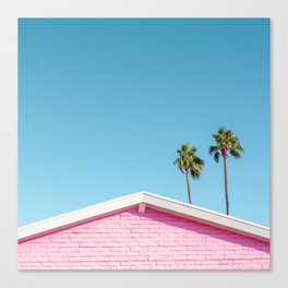 Pink House Roofline with Palm Trees (Palm Springs) Canvas Print
