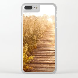 boardwalk and morass grass Clear iPhone Case