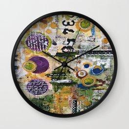 Mixed Media Art. Numbers, Circles & Words. Purpose Art. Deep Plum, Yellow, Greens and Blues Wall Clock