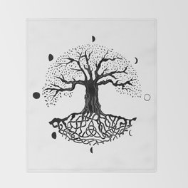 black and white tree of life with moon phases and celtic trinity knot II Throw Blanket