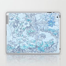 "Alphonse Mucha ""Anemones, Apple Blossoms and Narcissi"" (edited blue) Laptop & iPad Skin"