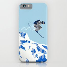 Airborn Skier Flying Down the Ski Slopes iPhone Case